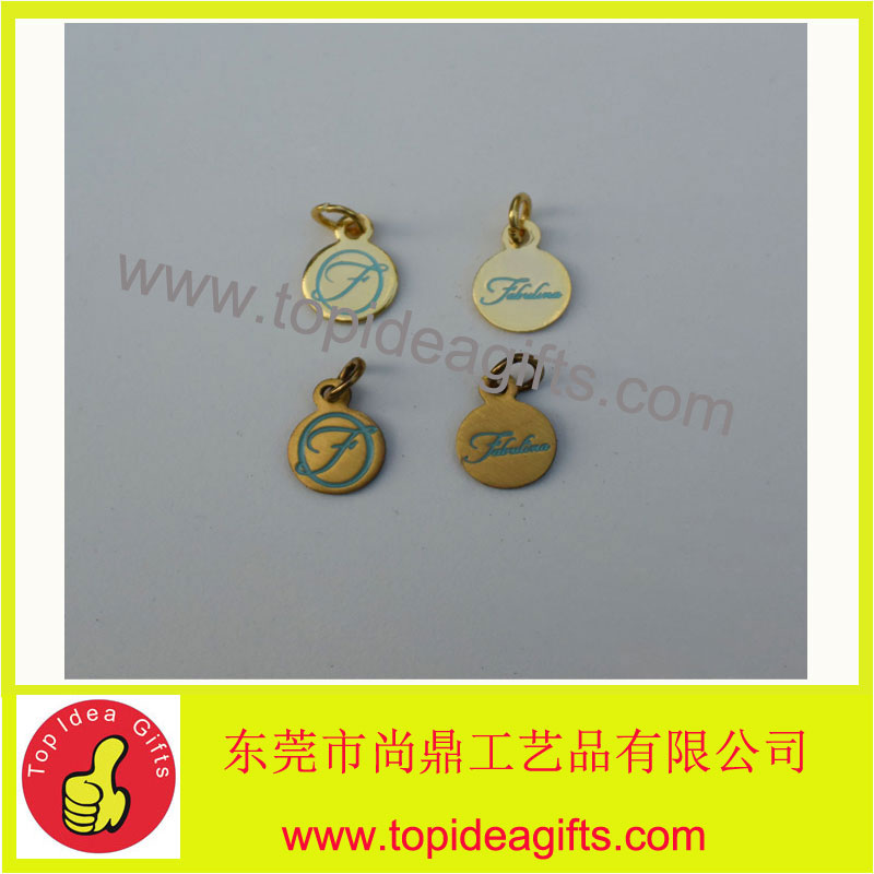 12*7mm custom metal jewelry tag/engraved metal tag with logo